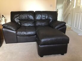 3 & 2 seater leather sofa's including storage footstool