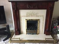 Complete Gas Fire , hearth , surround and brass fender