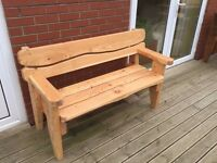 Larch garden bench, made in Barry!