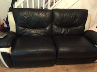 Black and white leather electric reclining sofa and 2 black reclining rocking chairs