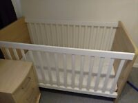 Cotbed, mattress plus chest of drawers