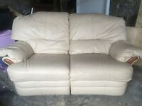Real leather reclining sofa, cream 2 seater! Amazing condition