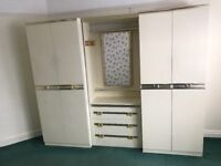 Wardrobes, drawers and mirror with light