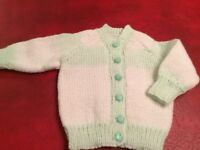 Baby Hand Knitted Cardigan, Age 0-3 months, NEW