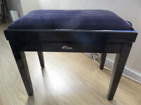 Tiger Adjustable Piano Stool Bench - Classic High Gloss Black