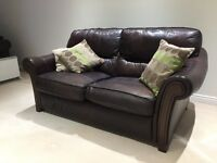 Brown leather sofa, 3 piece, 2 piece and footstool