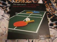 MINI TABLE TENNIS INCLUDES FOLDING TABLE POP UP NET AND BATS FROM JOHN LEWIS BRAND NEW IN BOX