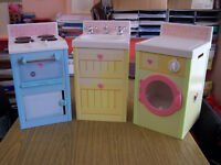 Childs 3 piece kitchen set cooker, washing machine and sink unit with utensils and plastic food