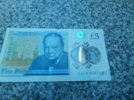 new early edition five pound note AA10