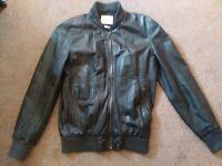 Men's Medium 100% Leather River Island Bomber Jacket (No Hood) Good Condition