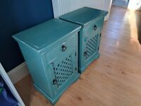 2 x Vintage / Shabby Chic Upcycled Solid Wood Bedside Tables