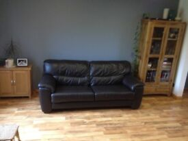 Brown leather 3 seater sofa from HARVEYS