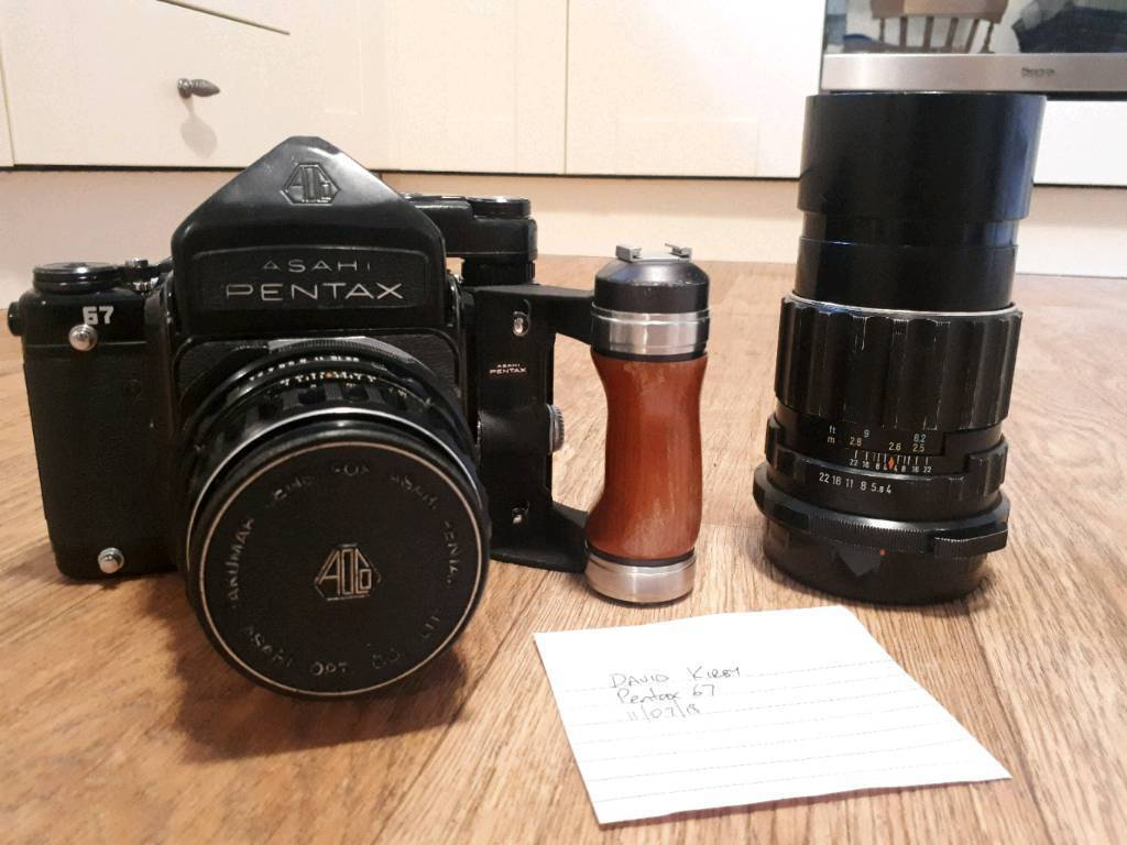 Pentax 67 Kit w/105mm and 200mm Lenses, TTL Metered Prism and Wooden Handle  | in Grange-over-Sands, Cumbria | Gumtree