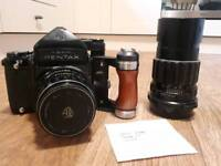 Pentax 67 Kit w/105mm and 200mm Lenses, TTL Metered Prism and Wooden Handle