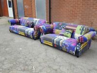 Fabulous Brand New Fabric Patchwork Sofa Suite in Printed Crushed Velvet , 3+2, Can deliver