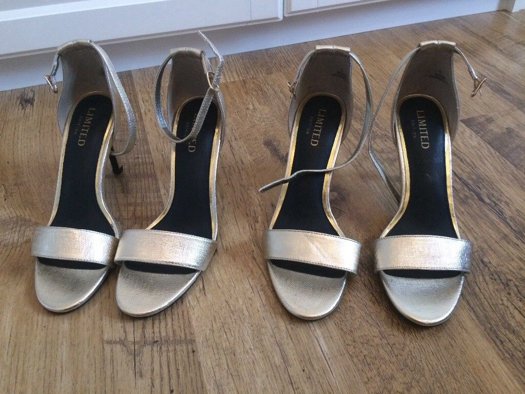 2 x brand new gold/champagne heeled sandals