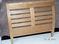 Oak single bed headboard & end panel only - size 101cm wide x 42cm high