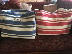 Large canvas beach or toy bags with rope handles