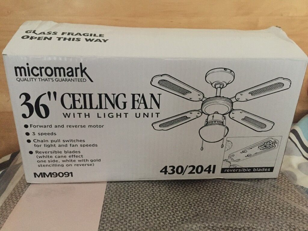 Micromark 36 Inch Ceiling Fan With Light Unit Brand New Never Used In Original Box