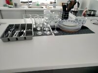 Kitchen set + wine cups+pint glasses+cutlery