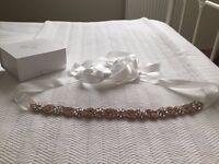 Rose Gold Vintage Crystal Wedding Sash bridal Belt Bride BRAND NEW never worn with box