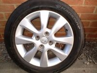 HYUNDAI i20 2012-2014 ALLOY WHEELS & HANKOOK OPTIMA TYRES 185-60 X15, 6MM TREAD, £50 EACH,