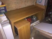 IKEA Malm oak effect desk with pull-out panel