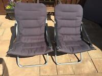 2 x black folding sun chairs