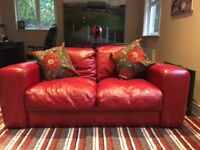 Unused beautiful high quality red leather large 2 seater sofa