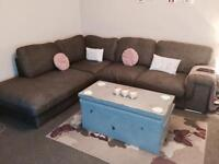 Slate grey material corner sofa couch settee suite 5/6 seats.