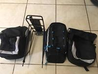 Bike rack and 3 carry bags