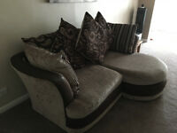 BROWN LEATHER AND FABRIC 3 SEATER SOFA