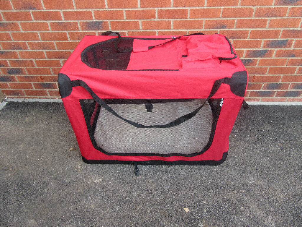 Dog travel cage bed playpen for car. Used once. Collapses for easy storage. Carry handles. 65x65x95