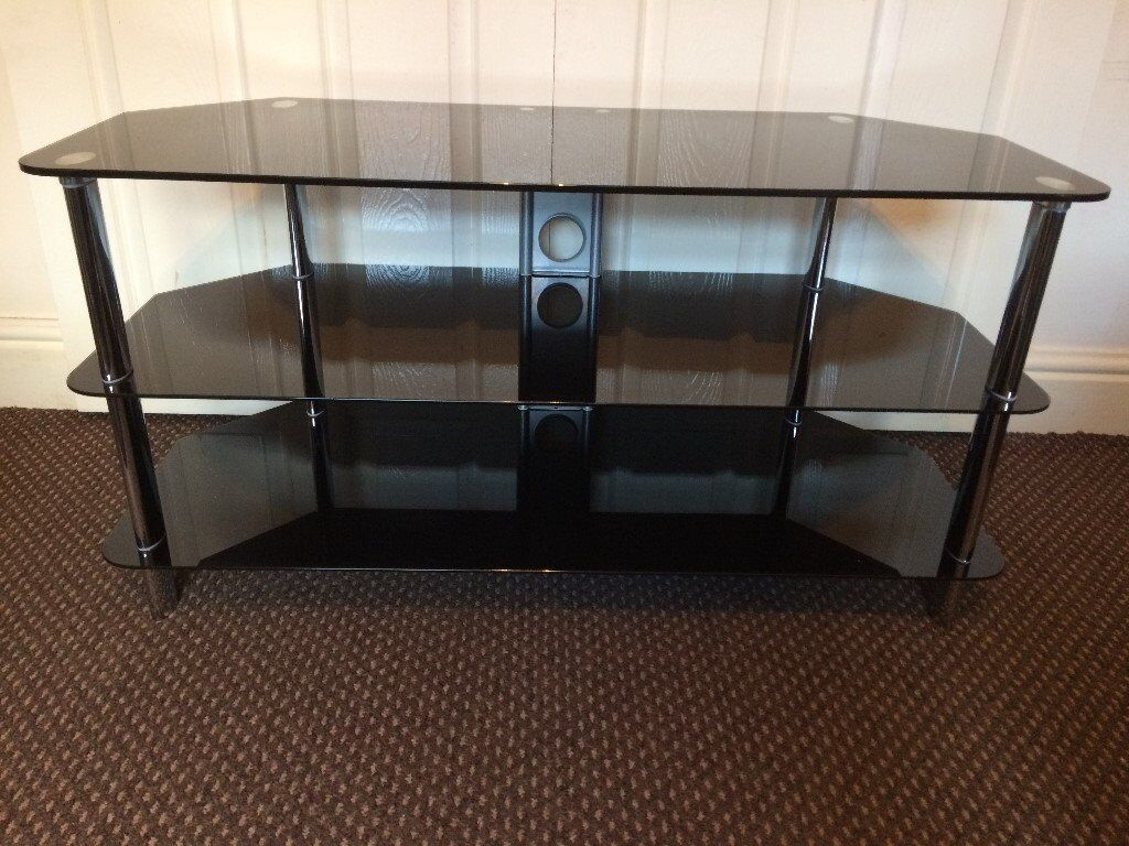 Tv Stand Black Glass Scratch Less Clean Condition Size Width 105cm Deep