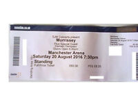 MORRISSEY TICKET, MANCHESTER ARENA SATURDAY 20th AUGUST, STANDING