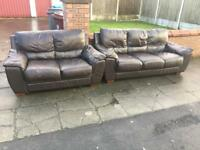 BROWN LEATHER SOFAS -free delivery