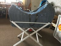 Grey & blue Noah pod Moses basket with white stand