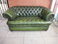 A Pentdragon Green Leather Chesterfield Buttoned Sofa