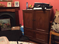 Dark oak Tv Cabinet with draw underneath for storage / tv stand