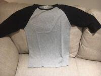 ASOS T Shirt grey with three quarter length black sleeves