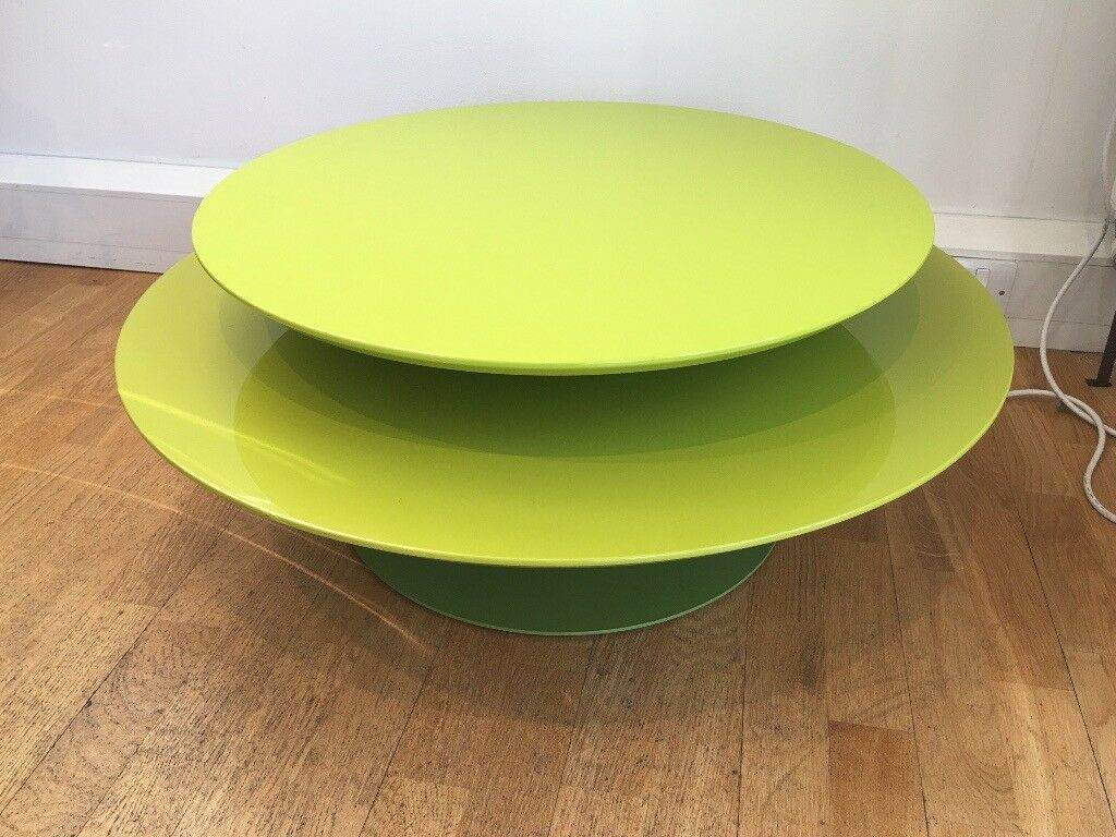 Modern Art Deco Round Green Coffee Table 2 Levels