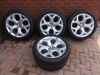 """BMW X6 E71 20"""" alloy wheels and tyres 275/40/20 , 315/35/20 delivery mileage may fit E53 X5 , T5 VW"""