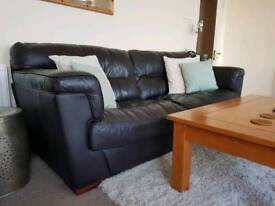 Brown/ black 3 seater with arm chair Leather sofa. Good condition