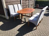 Drop leaf donning table and 6 chair