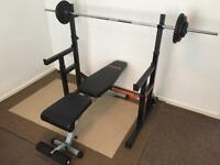 Mirafit Spot and Dip Rack, York Fitness Bench and Olympic Bar