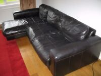 Dark brown leather chaise sofa unit - just £50 for quick sale