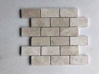 Honed and filled Classic Light Travertine Brick Mosaic Tiles 48 x 96 mm