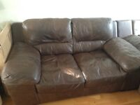 DFS brown leather sofa good condition £175 of offers
