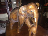 SUPERB LARGE INDIAN HAND CARVED WOODEN ELEPHANT-COW WITH CALF
