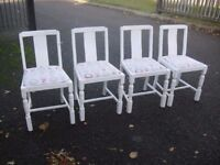 Set Of 4 Oak 1950's Era Sturdy Chairs Painted Shabby Chic Years Ago